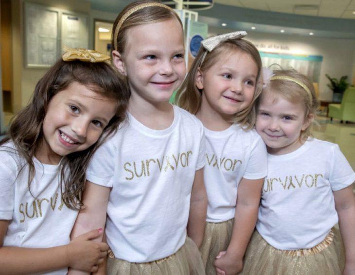 McKinley, Lauren, Ava y Chloe; niñas vencen al cáncer y se hacen amigas en el hospital; pequeñas con tutús dorados y moños en la cabeza