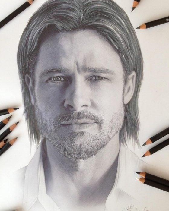 Dibujo hiperrealista de la artista litvinalena, Brad Pitt
