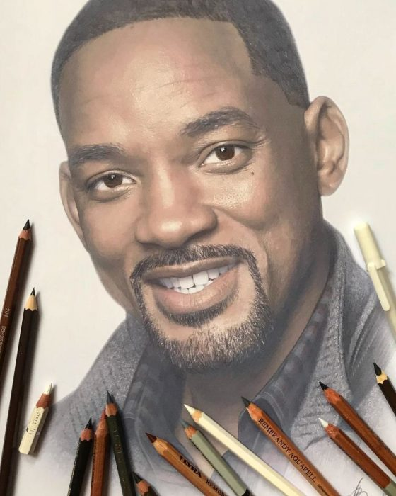 Dibujo hiperrealista de la artista Litvin Alena, Will Smith