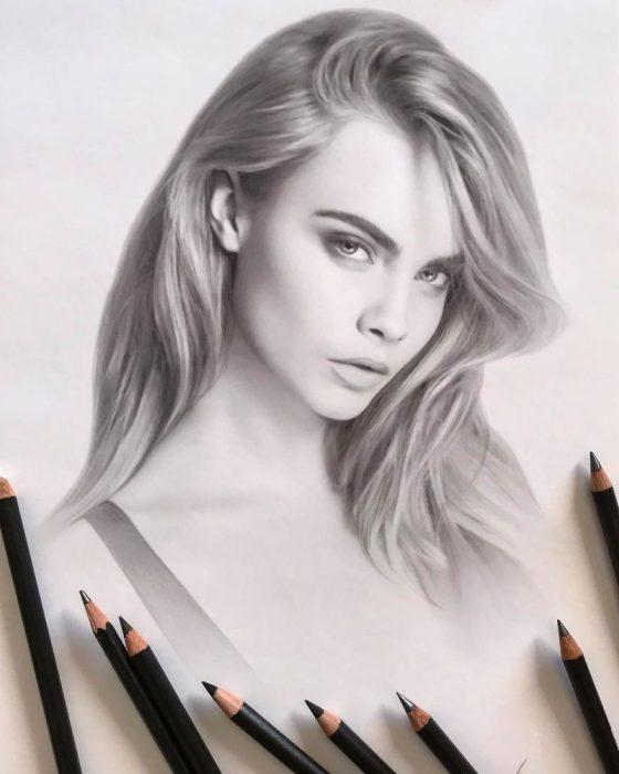 Dibujo hiperrealista de la artista Litvin Alena, Cara Delevingne