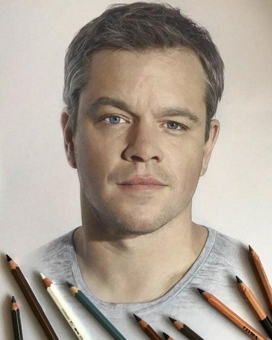 Dibujo hiperrealista de la artista Litvin Alena, Mark, Matt Damon
