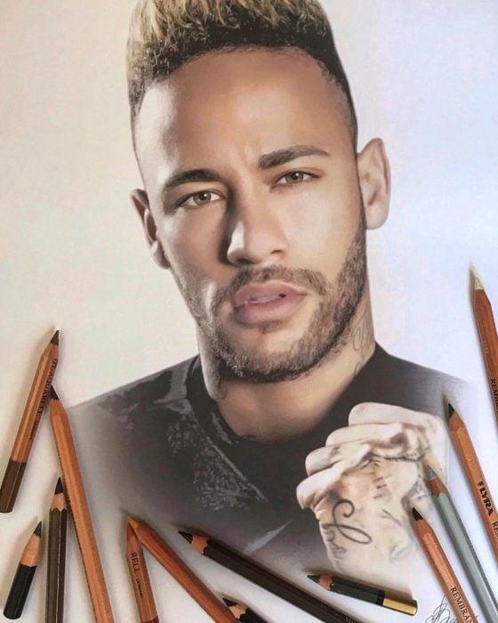 Dibujo hiperrealista de la artista Litvin Alena, Neymar Jr.