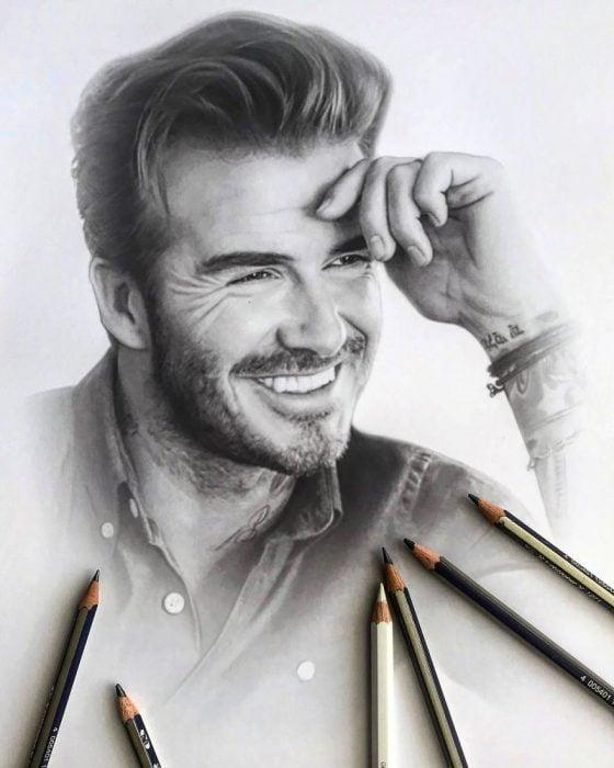 Dibujo hiperrealista de la artista Litvin Alena, David Beckham