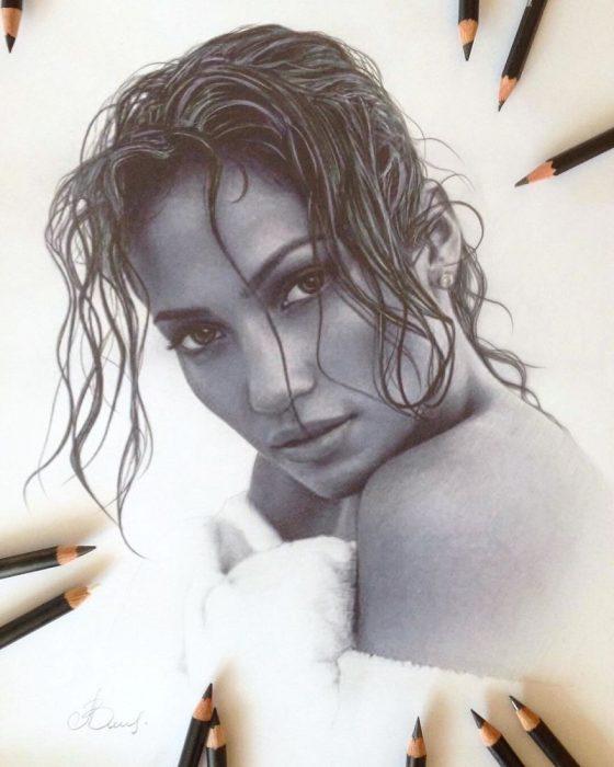 Dibujo hiperrealista de la artista Litvin Alena, Jennifer Lopez
