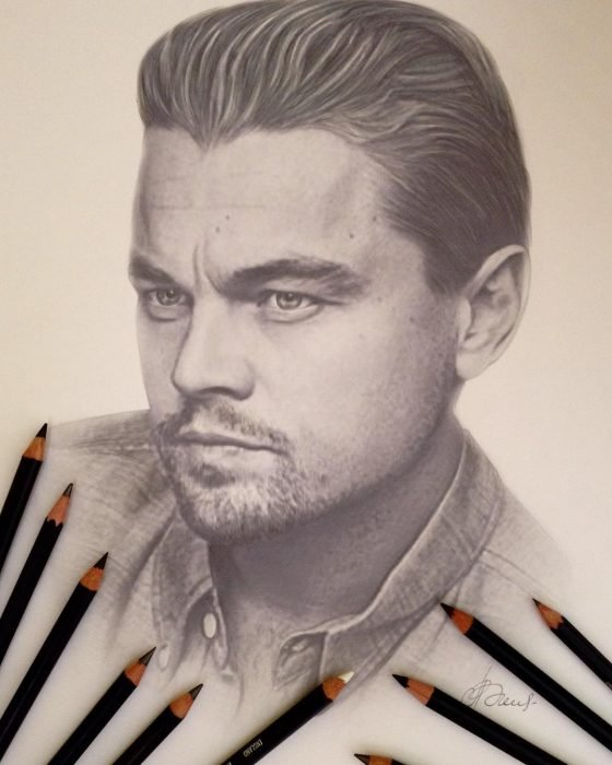Dibujo hiperrealista de la artista litvinalena, Leonardo DiCaprio