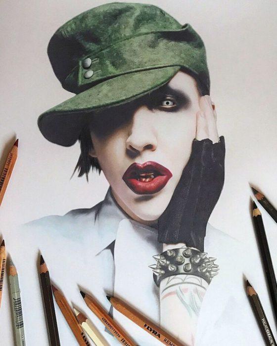 Dibujo hiperrealista de la artista Litvin Alena, Marilyn Manson