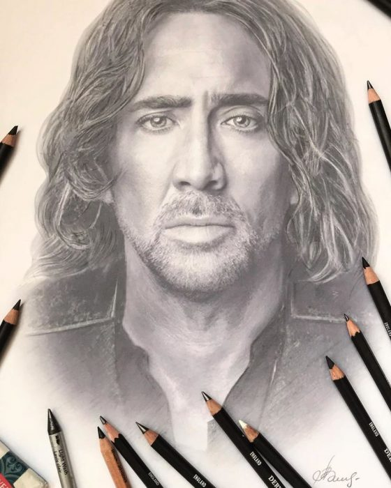 Dibujo hiperrealista de la artista Litvin Alena, Nicolas Cage
