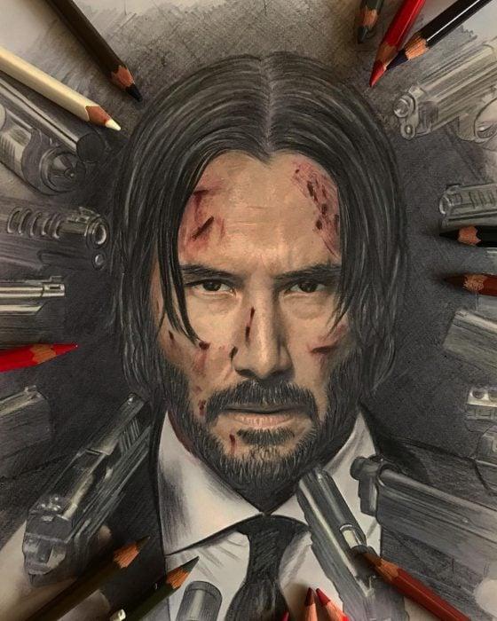 Dibujo hiperrealista de la artista litvin alena, Keanu Reeves