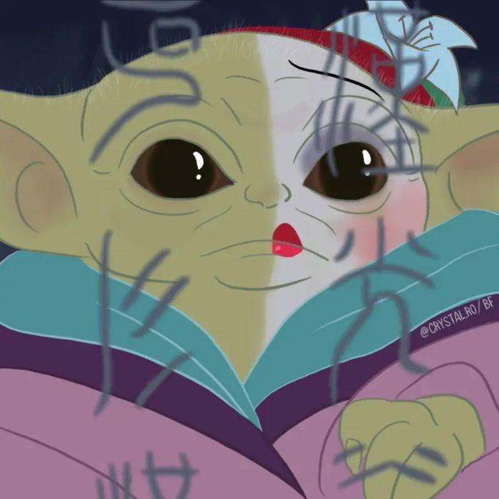 Bebé yoda como Mulan, Disney