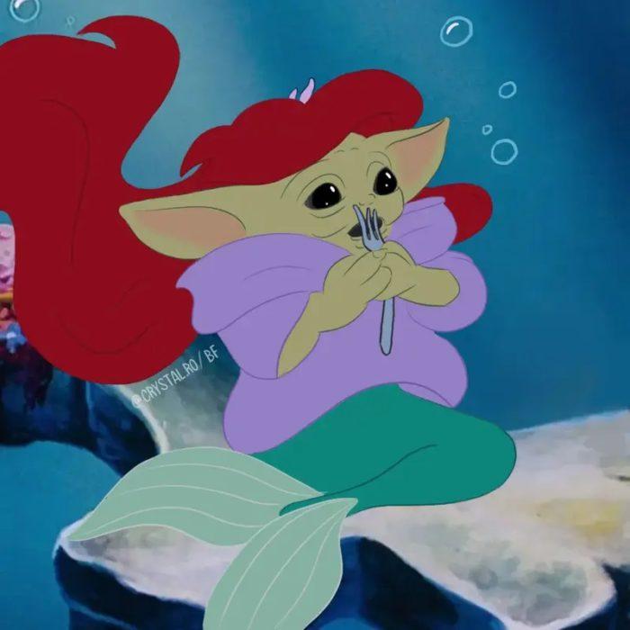 Bebé Yoda como Ariel, Disney