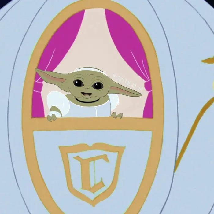 Bebé Yoda como Cenicienta