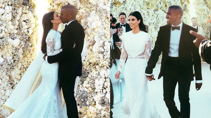 Kim Kardashian y Kanye Westel día de su boda caminando por el altar