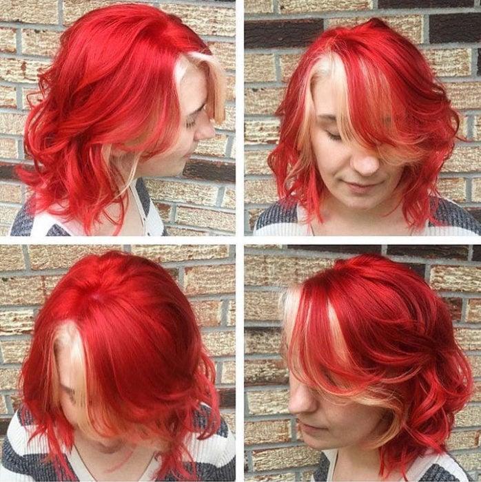 Chica con el cabello rojo con tonos platinados