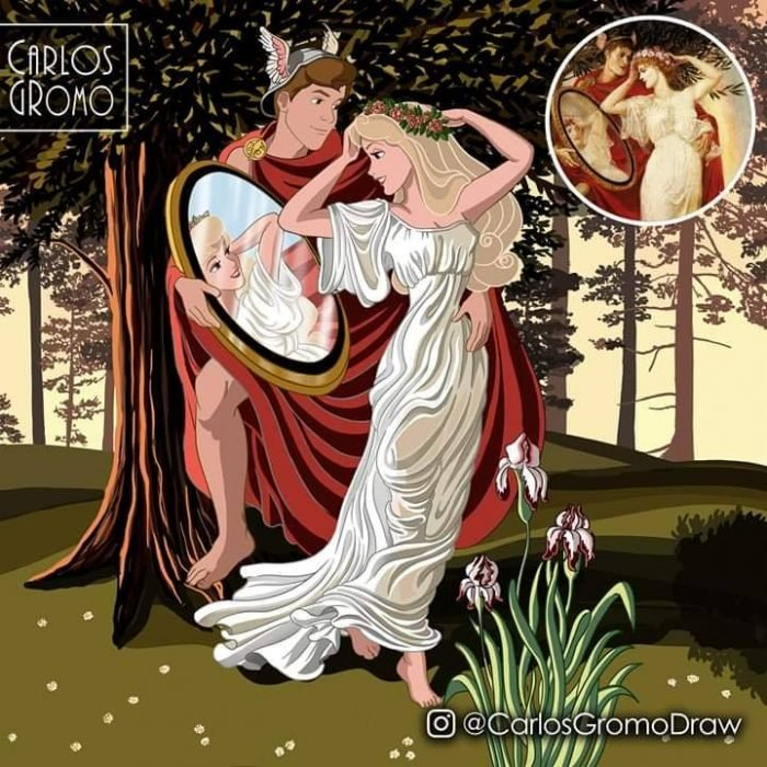 Dibujos de Carlos Gromo, Disney, Aurora y el príncipe Felipe