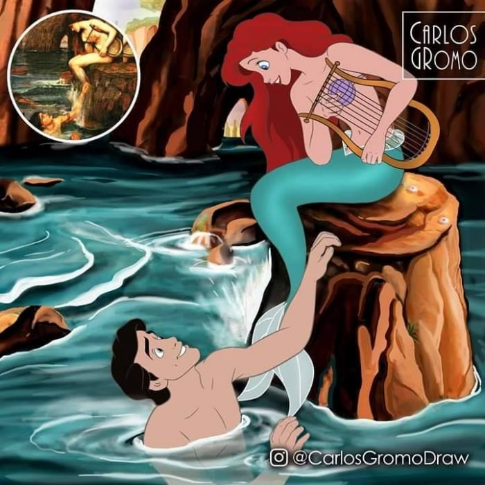 Dibujos de Carlos Gromo, Disney, Ariel y el príncipe Eric