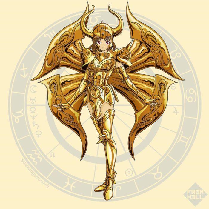 Sailor scouts usando la armadura dorada de Los caballeros de Oro de Saint Seiya