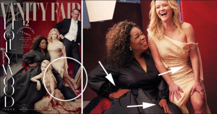 Portada de la revista vanity fair con errores de photoshop en Ophra y Resse whiterspoon