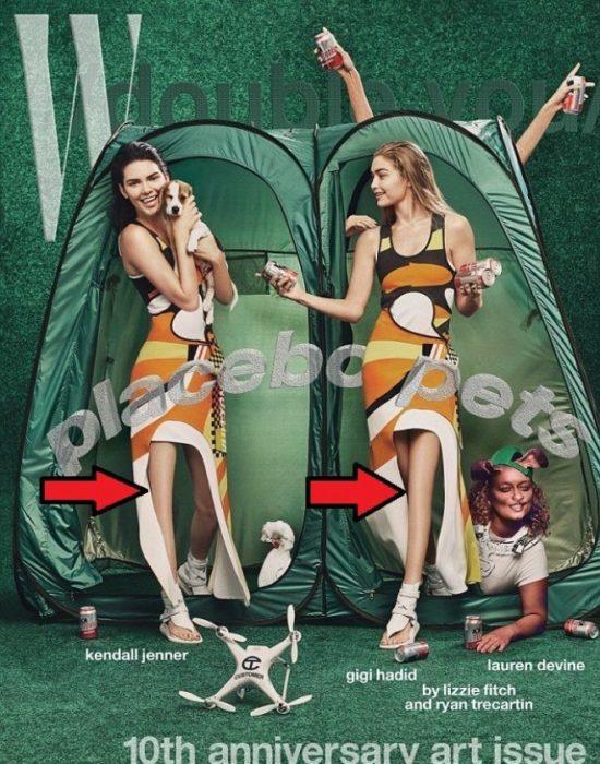 Kendall Jenner y Gigi hadid con un error de photoshop
