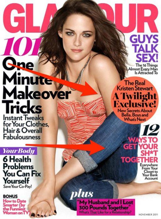 Error de edición en la fotografía de Kristen Stewart para una revista