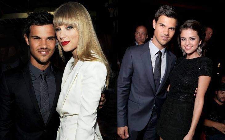 Taylor Swift abrazando a Taylor lautner y después a Selena Gomez