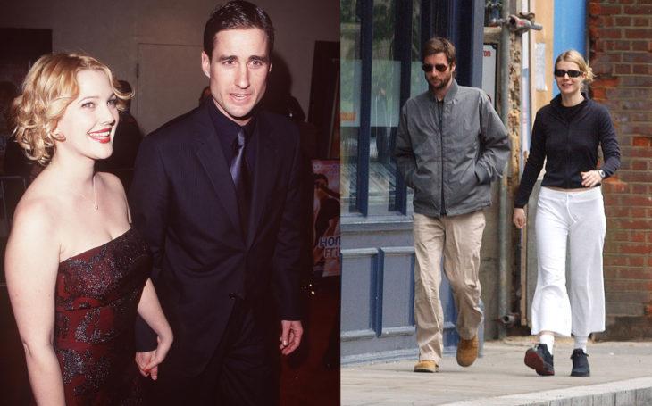 Drew Barrymore y Gwyneth Paltrow caminando tomadas de la mano de Lucke Wilson en diferentes fotos