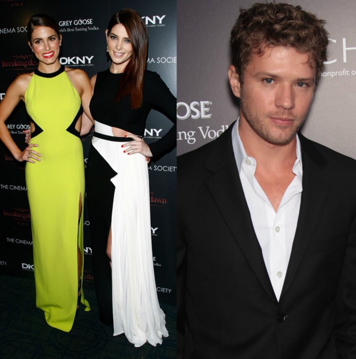 Nikki Reed, Ashley Greene abrazadas en una alfombra roja y Ryan Phillippe sonriendo
