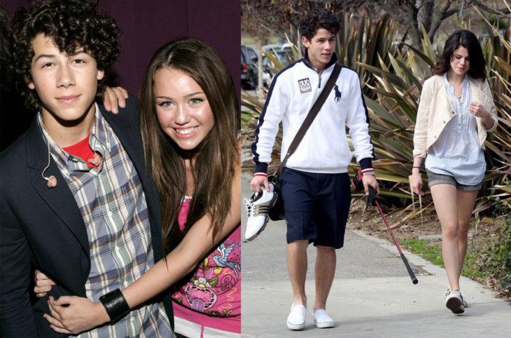 Miley Cyrus abarazando a Nick Jonas. Selena Gomez caminando al lado de Nick Jonas