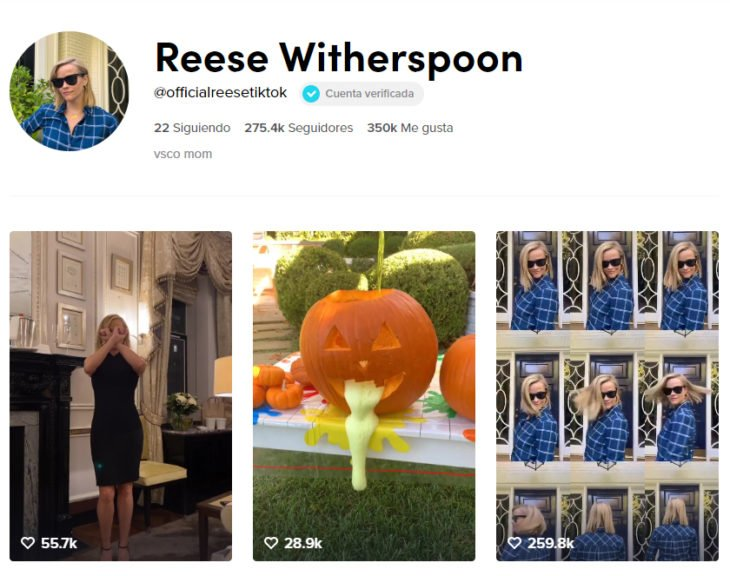 Pagina de tik tok de reese witherspoon
