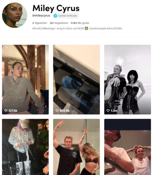 Pagina de tik tok de Miley Cyrus