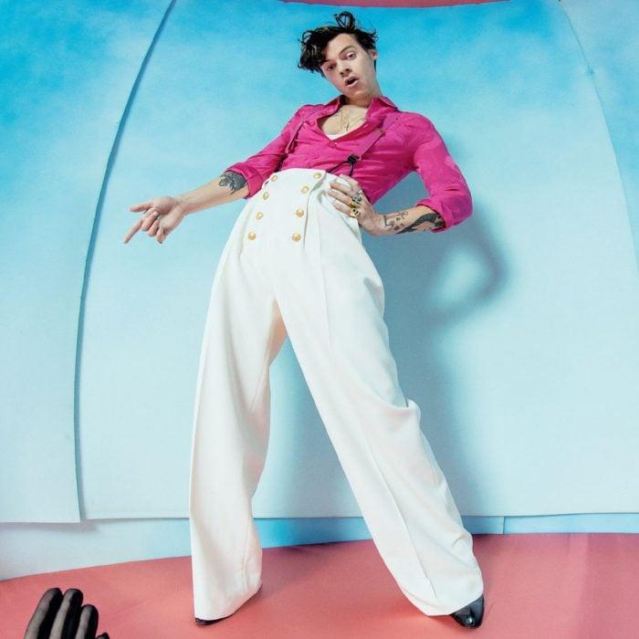 Harry Styles posando con un pantalón largo para la portada de su disco