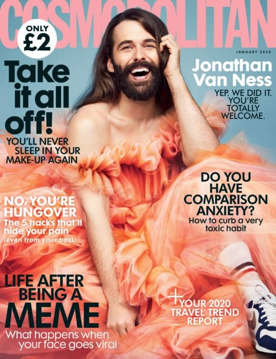 Jonathan Van Ness, estrella de Queer Eye for the Straight Guy, es el primer hombre en la portada de la revista Cosmopolitan