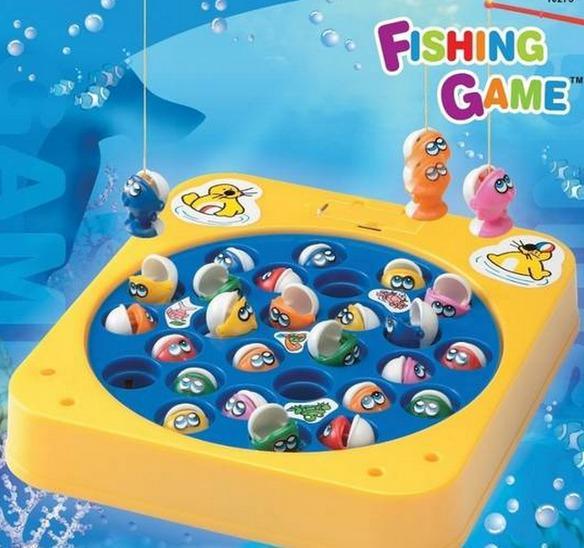 Juguete de los 90 fishing game de color amarillo con azul