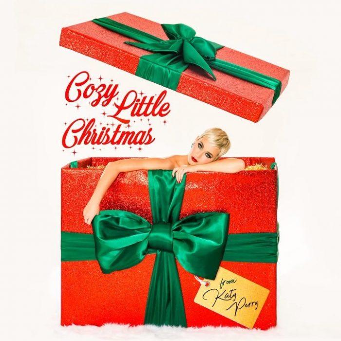 Katy Perry saliendo de un regalo de navidad