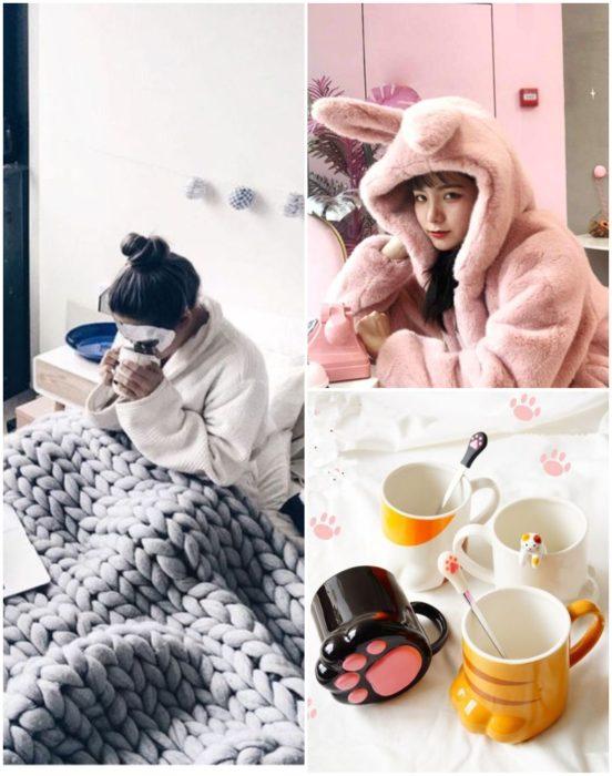 Chicas llevando pijamas suaves y afelpadas