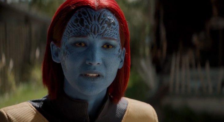 Jennifer Lawrence caracterizada como mystiq en la película X-Men