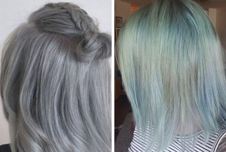 Chica mostrando como le quedó su cabello después de pedirle al estilista un platinado