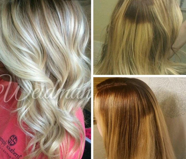 Chica mostrando lo que pidió en la peluquería vs lo que obtuvo y después como la arreglaron