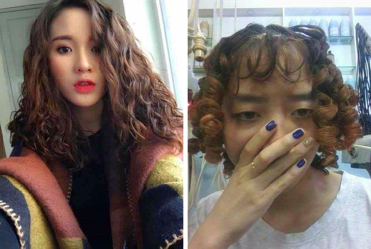 Chica mostrando los rizos que quería que le hicieran vs los que la peluquera le hizo