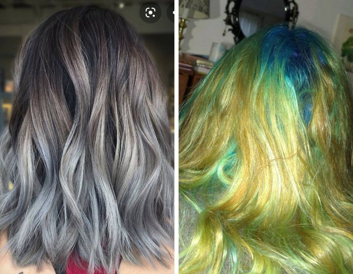 Chica con el comparando un cabello platinado con uno de color verde, amarillo y azul