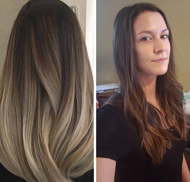 Chica mostrando el color de cabello que quería y el que le dejó la estilista