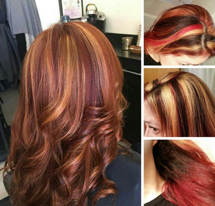 Chica mostrando los tres colores de cabello que le hizo el estilista