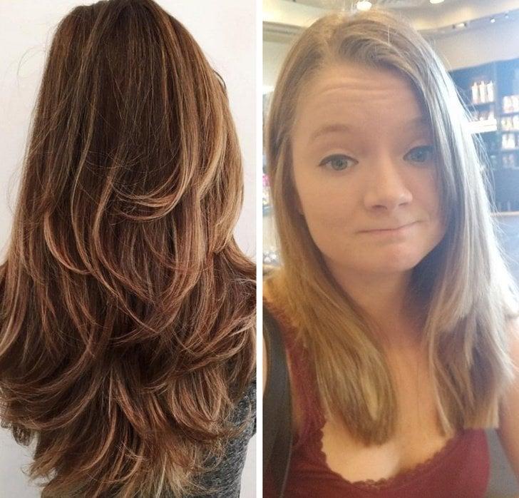 Chica mostrando las capas que quería paa su cabello y lo mal que se lo cortaron después