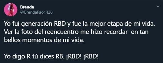 Tuit sobre el reencuentro de RBD 11 años después