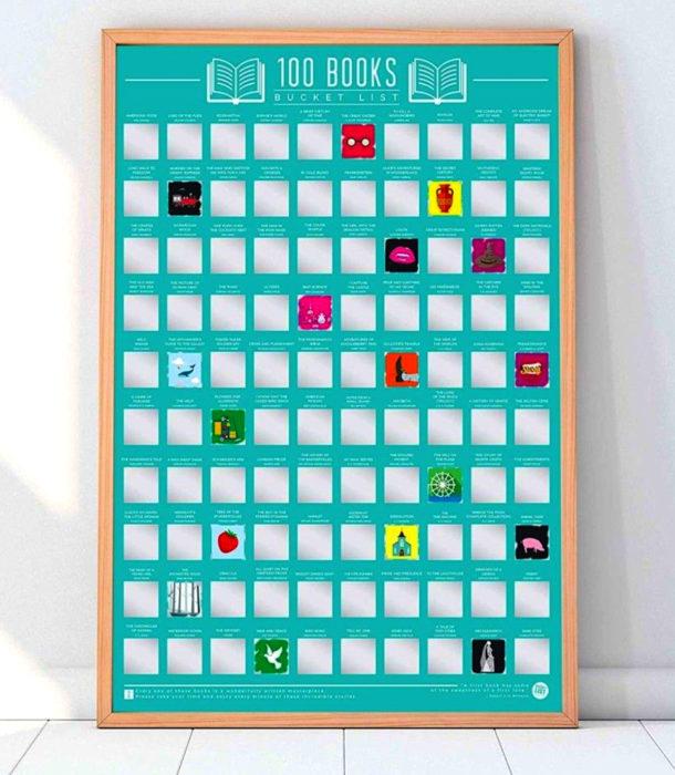 Regalos para personas que aman leer; calendario de 100 libros