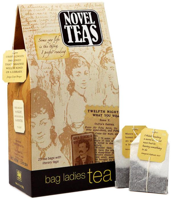Regalos para personas que aman leer; té de novelas