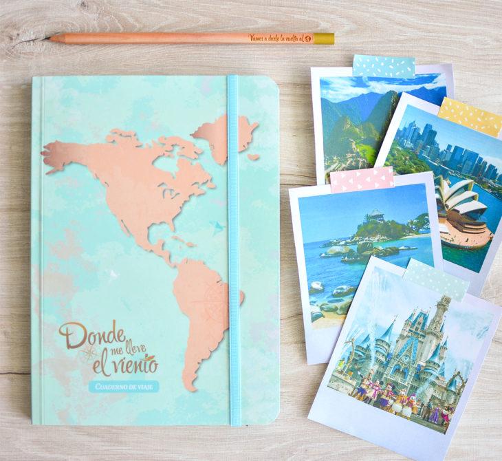 Cuaderno de viaje con fotografías polaroid