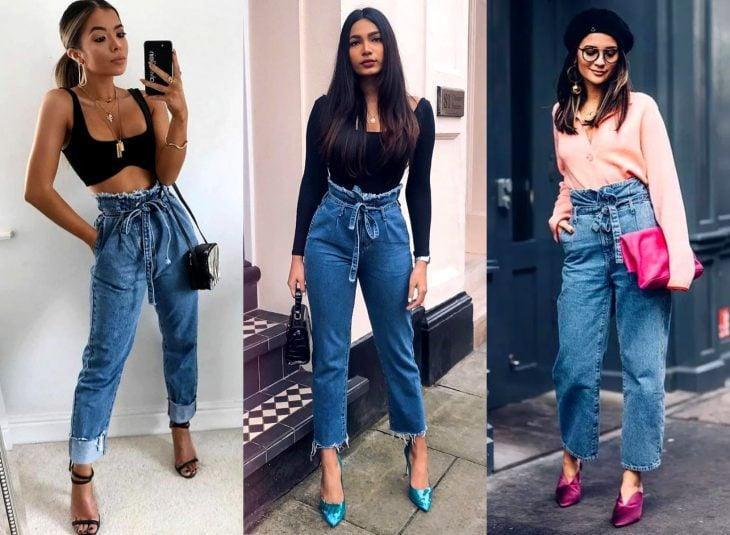 Tipos de pantalones para mujer; paperbag jeans