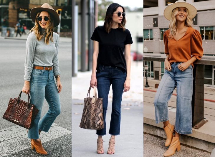 Tipos de pantalones para mujer; cropped flare jeans