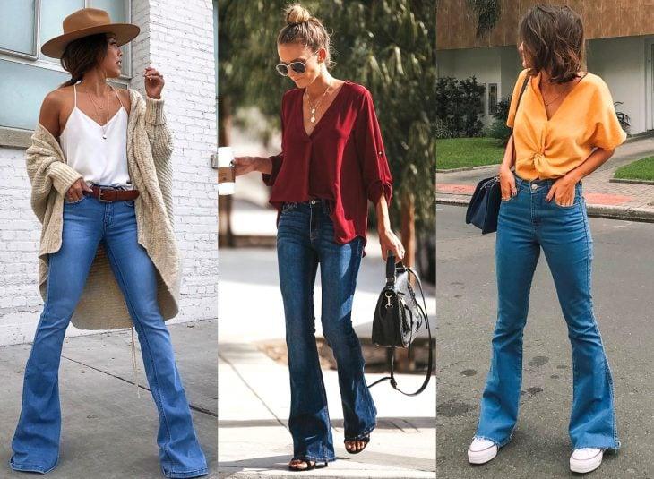 Tipos de pantalones para mujer; bell bottom jeans, acampanados