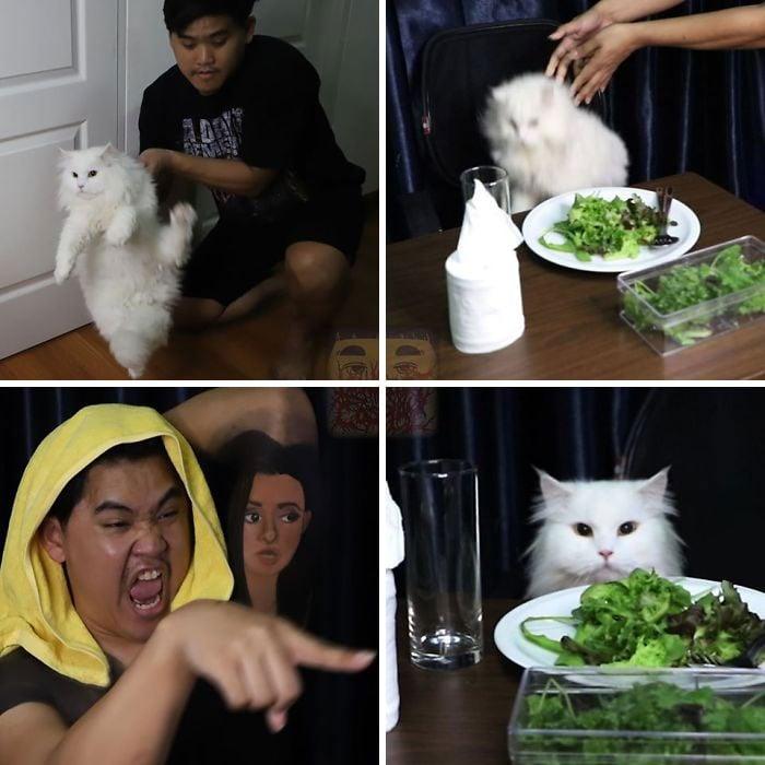 Cosplay de Anucha Saengchart como el gato del meme